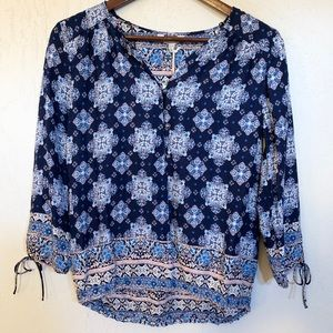 Lucky Brand Boho Button Up Drawstring Sleeve XS